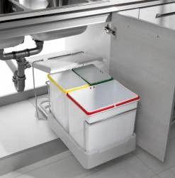 Cos de gunoi Oxa incorporabil in dulap cu 1 compartiment x 16 litri si 2x 7 5 litri