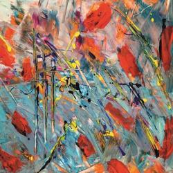 Tablou Canvas Abstract 286 70 x 70 cm Rama lemn Multicolor Tablouri