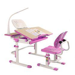 Set complet birou si scaun copii ergonomic reglabil in inaltime ErgoK S404 Roz