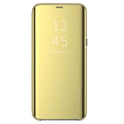 Husa Samsung Galaxy J6 2018 Gold Flip Standing Cover Clear View Oglinda Auriu Permite vizualizarea prin capacul superior
