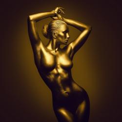 Tablou Canvas Femeie Nud Golden 70 x 70 cm Rama lemn Multicolor Tablouri
