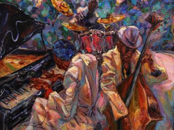 Tablou Canvas Formatie de jazz 80 x 60 cm Rama lemn Multicolor Tablouri