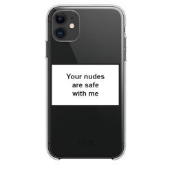 Husa Spate Silicon Upzz Label iPhone 11 Model Nudes Huse Telefoane