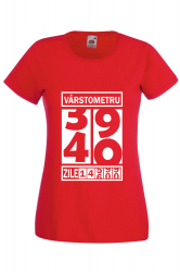 Tricou dama personalizat Fruit of the loom rosu Varstometru 40 ani XL Tricouri dama