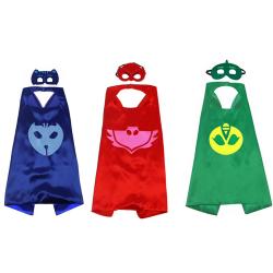 Set 3 costume eroi in pijama cu 3 piese bratara pelerina si masca - Shopi Bufnita si Pisoi Costume serbare