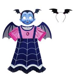 Set 4 piese costum pentru copii rochie Vampirina cordeluta masca aripioare detasabile pentru serbare petrecere Halloween Marime
