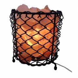 Lampa din cristale de sare E14 bec 15W alimentare retea cos metalic Corpuri de iluminat