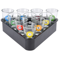 Set 10 pahare sticla Shot Biliard 30 ml Cani, Cesti si Pahare