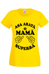 Tricou dama personalizat Fruit of the loom galben Asa arata o mama superba XL Tricouri dama