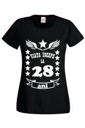 Tricou dama personalizat Fruit of the loom negru Viata incepe la 28 ani 2XL Tricouri dama