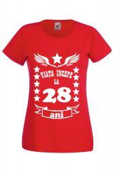 Tricou dama personalizat Fruit of the loom rosu Viata incepe la 28 ani S Tricouri dama