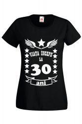 Tricou dama personalizat Fruit of the loom negru Viata incepe la 30 ani M Tricouri dama