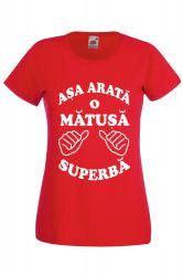 Tricou dama personalizat Fruit of the loom rosu Asa arata o matusa superba M Tricouri dama