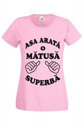 Tricou dama personalizat Fruit of the loom roz Asa arata o matusa superba 2XL Tricouri dama