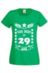 Tricou dama personalizat Fruit of the loom verde Viata incepe la 29 ani 2XL Tricouri dama