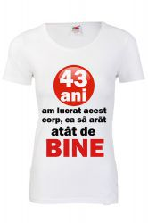 Tricou personalizat Fruit of the loom dama 43 ani alb L Tricouri dama