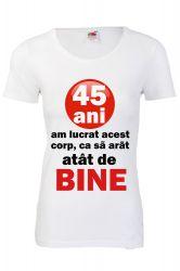 Tricou personalizat Fruit of the loom dama 45 ani alb S Tricouri dama
