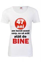 Tricou personalizat Fruit of the loom dama 47 ani alb L Tricouri dama