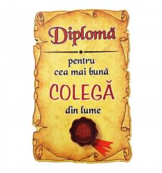 Magnet Diploma pentru cea mai buna COLEGA din lume lemn Accesorii bucatarie