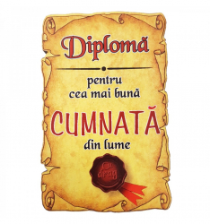 Magnet Diploma pentru cea mai buna CUMNATA din lume lemn Accesorii bucatarie