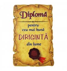 Magnet Diploma pentru Cea mai buna DIRIGINTA din lume lemn Accesorii bucatarie