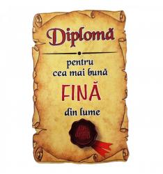 Magnet Diploma pentru cea mai buna FINA din lume lemn Accesorii bucatarie