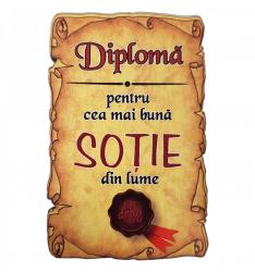 Magnet Diploma pentru cea mai buna SOTIE din lume lemn Accesorii bucatarie