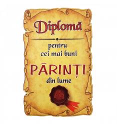 Magnet Diploma pentru Cei mai buni PARINTI din lume lemn Accesorii bucatarie