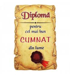 Magnet Diploma pentru cel mai bun CUMNAT din lume lemn Accesorii bucatarie