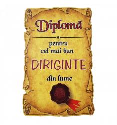 Magnet Diploma pentru Cel mai bun DIRIGINTE din lume lemn Accesorii bucatarie