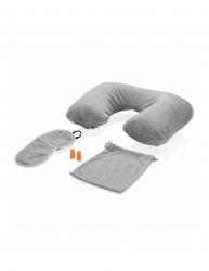 Set de calatorie perna gonflabila masca ochi dopuri urechi husa mica Everestus CT01 poliester pvc gri saculet inclus Camping si drumetii