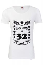 Tricou dama personalizat Fruit of the loom alb Viata incepe la 32 ani 2XL Tricouri dama