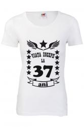 Tricou dama personalizat Fruit of the loom alb Viata incepe la 37 ani L Tricouri dama