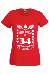 Tricou dama personalizat Fruit of the loom rosu Viata incepe la 34 ani M Tricouri dama