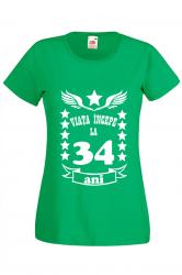 Tricou dama personalizat Fruit of the loom verde Viata incepe la 34 ani XL Tricouri dama