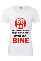 Tricou personalizat Fruit of the loom dama 50 ani alb S Tricouri dama