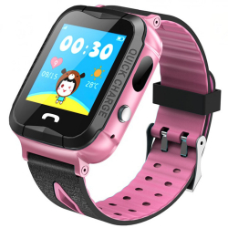 Ceas GPS Copii iUni Kid6 Touchscreen Telefon incorporat BT Camera 2MP Buton SOS Rezistent la apa Roz Smartwatch