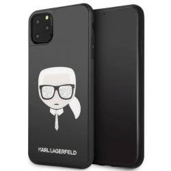 Husa Premium Karl Lagerfeld iPhone 11 Pro Max Glitter Iconic Karl Head Negru Huse Telefoane
