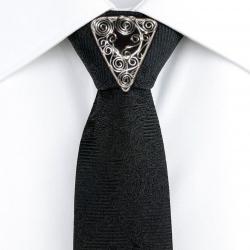 Ac cravata Elven Rose Design Dark handmade placat cu argint cristal Swarovski Accesorii barbati