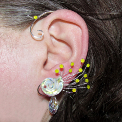 Cercel Ear cuff Elven Rose Design Air Whispers handmade placat argint cristale Swarovski Cercei