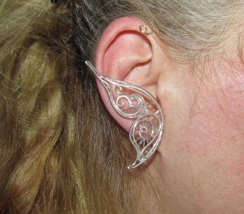 Cercel Ear cuff Elven Rose Design Fluture Argintiu handmade placat argint Cercei
