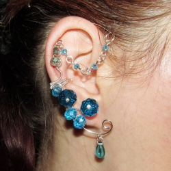 Cercel Ear cuff Elven Rose Design Water Elemental handmade placat argint Cercei