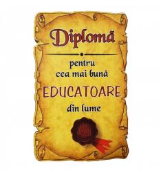 Magnet Diploma pentru Cea mai buna EDUCATOARE din lume lemn Accesorii bucatarie