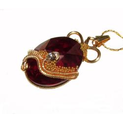 Pandantiv Elven Rose Design Elverquisst handmade placat cu aur cristal Swarovski Pandantive si Talismane