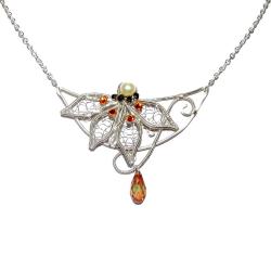 Pandantiv Elven Rose Design Light of the Elves handmade placat cu argint cristale Swarovski Pandantive si Talismane