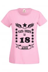 Tricou dama personalizat Fruit of the loom roz Viata incepe la 19 ani L Tricouri dama