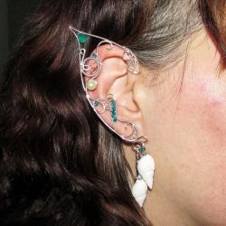 Cercei Urechi de elf Elven Rose Design Ocean Whispers handmade placat argint cristale Swarovski Cercei