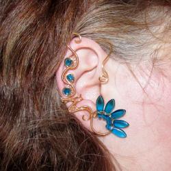 Cercel Ear cuff Elven Rose Design Golden reflections handmade placat aur Cercei