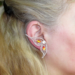Cercel Ear cuff Elven Rose Design Magic Fire Butterfly handmade placat argint cristale Swarovski Cercei