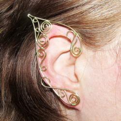 Cercei Urechi de elf Elven Rose Design Golden Swirls handmade placat aur marime universala Cercei